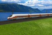 Vysokorychlostní vlak kolem hory a flords