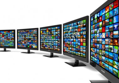 Row of widescreen HD displays wtih multiple images