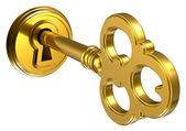 Fotografie Zlatý klíč v klíčové dírky