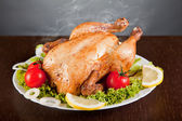 Fotografie Roast chicken with fresh vegetables