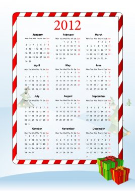 Vector illustration of European calendar 2012