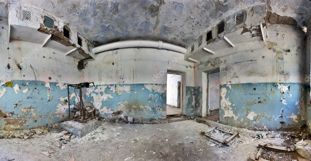 Old and abandoned house inside hdr panorama