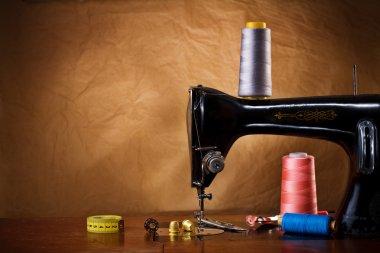 Copy space vintage sewing tools