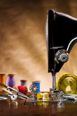 Sewing supplies copy space