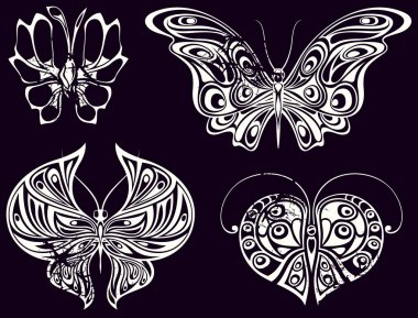 Set of vintage butterflies