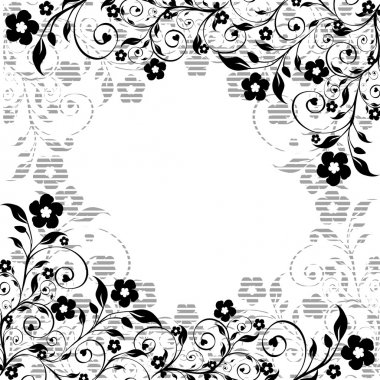 Floral ornament with striped silhouette