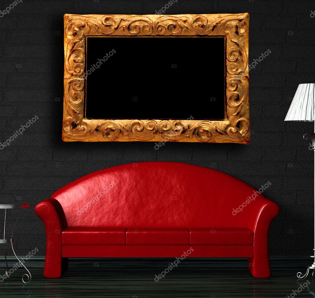 sofá rojo, mesa y lámpara de pie con marco moderno — Foto de stock ...