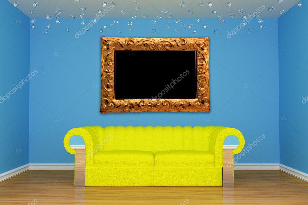 azul salón comedor con sofá amarillo y marco moderno — Foto de stock ...