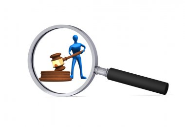 3d man with judicial gavel in the magnifier
