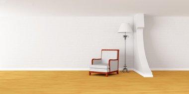 White armchair with luxurious lamp in modern minimalist interior