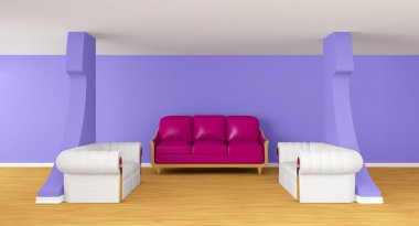 Gallery's hall with luxurious sofas