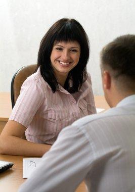 Beautiful girl at a job interview