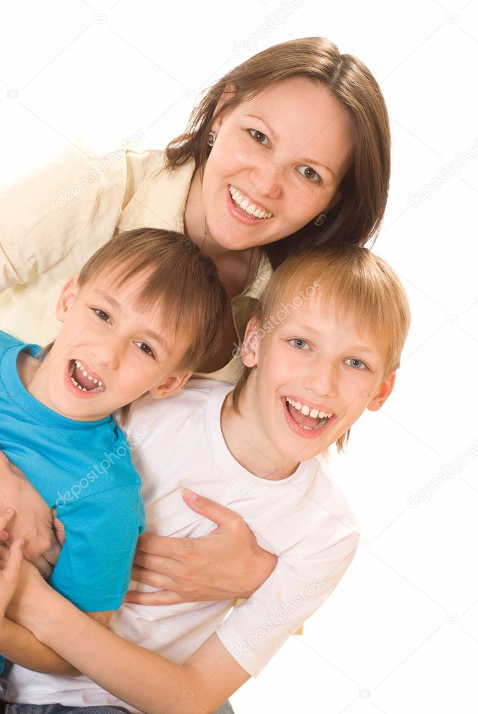 Happy mom with two children