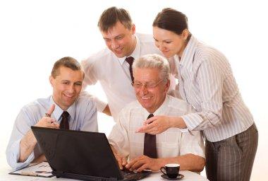 Four businessmen working