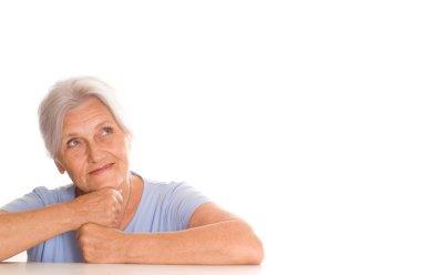 Beautiful older woman in blue