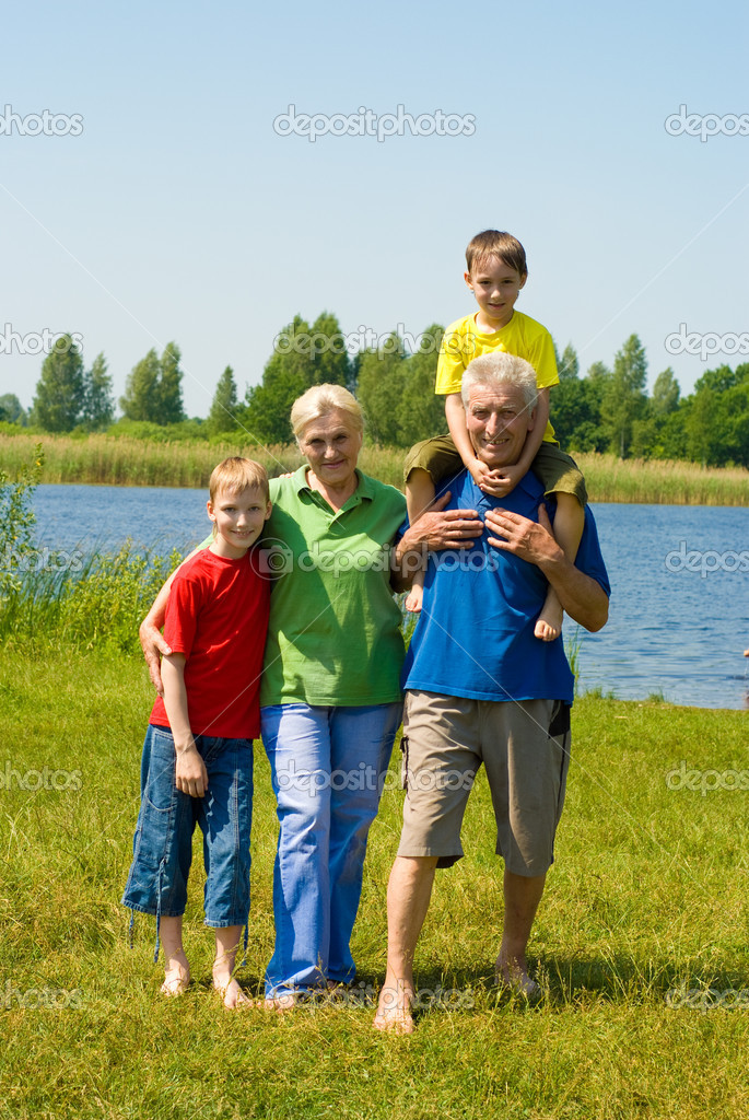 Couple with their grandchildren