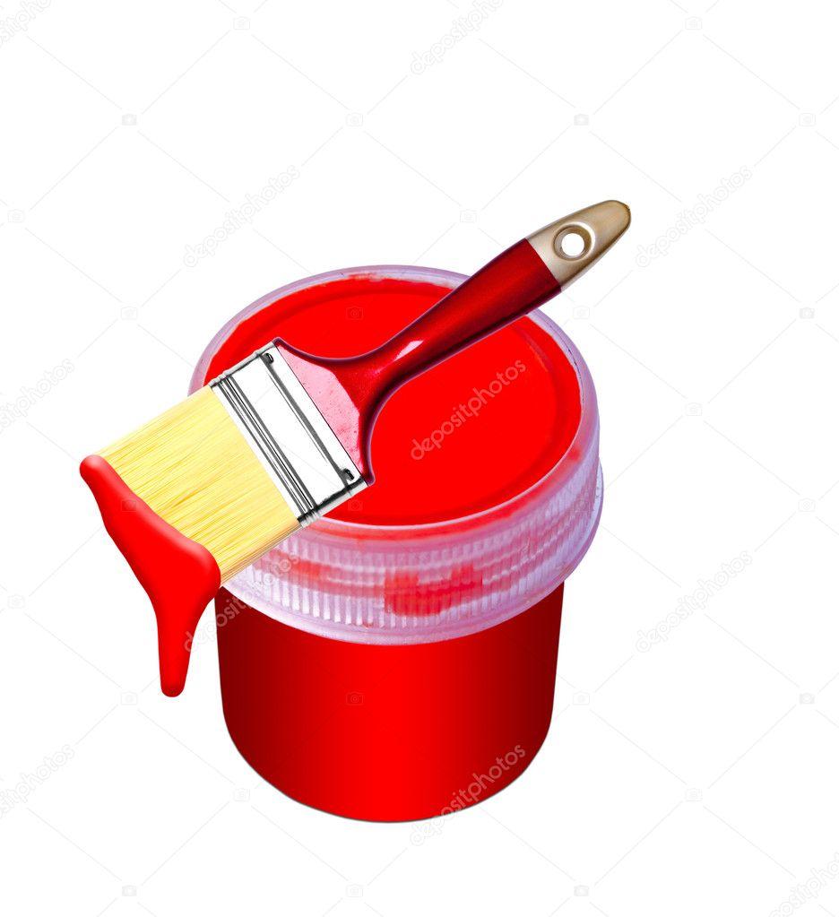 картинка кисточка с красной краской установка, покупка
