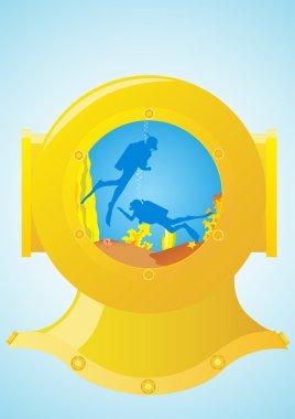 Diving helmet and scuba divers