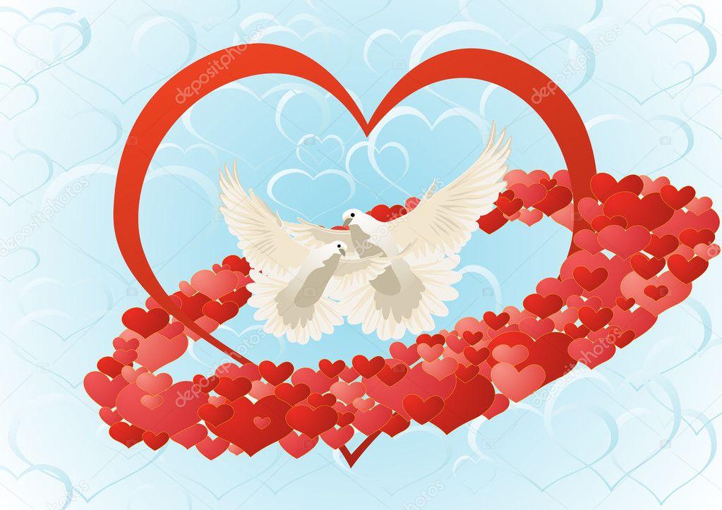 Анимированная, открытка голуби и сердце