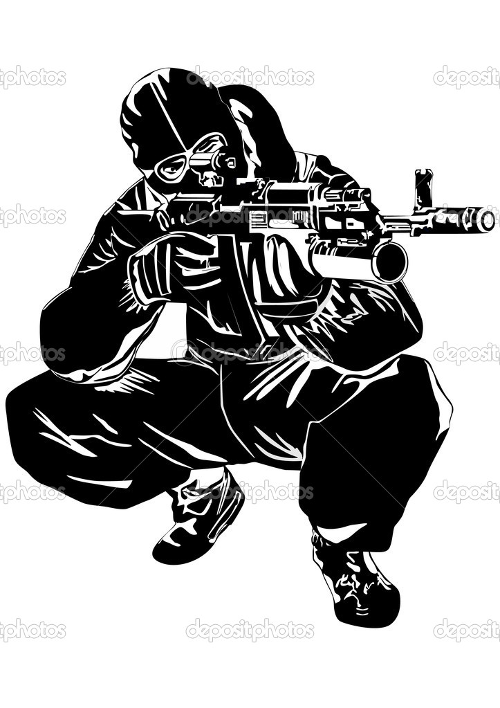 The illustration on military issues. A man in uniform ready to fire from automatic weapons stock vector