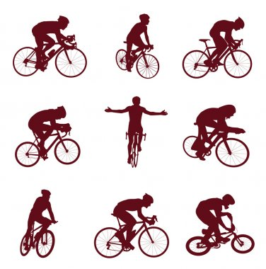 Bicyclist silhouettes