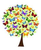 Fotografia albero fiore con farfalle colorate