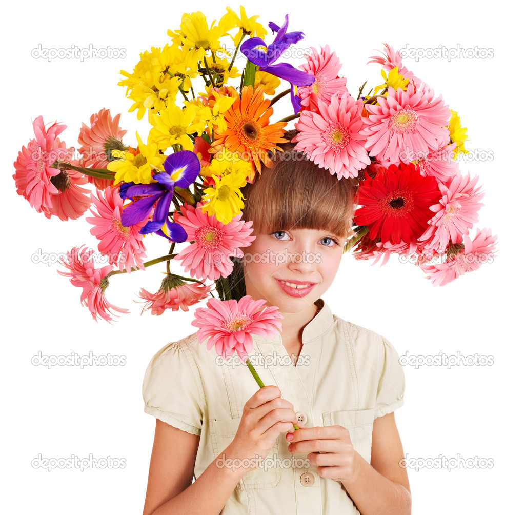 prices for haircuts child with with flowers on hair stock photo 4968