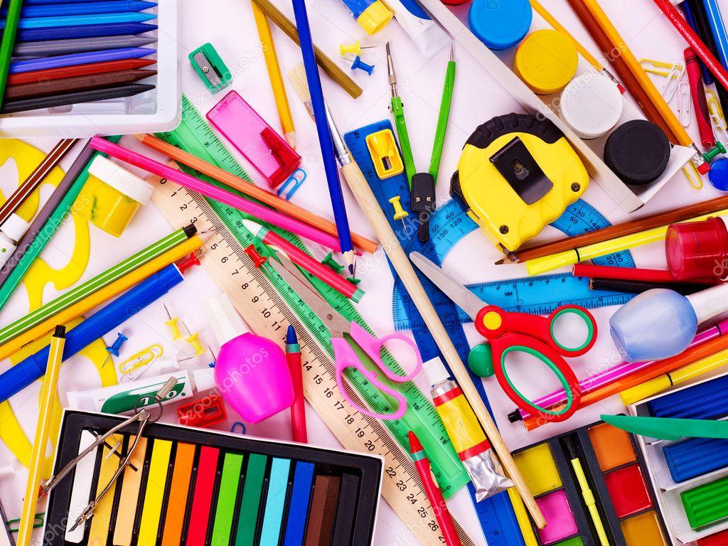 Background of school supplies.