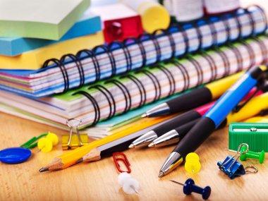 School office supplies on board. stock vector