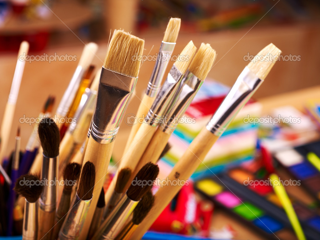 Close up of art supplies.