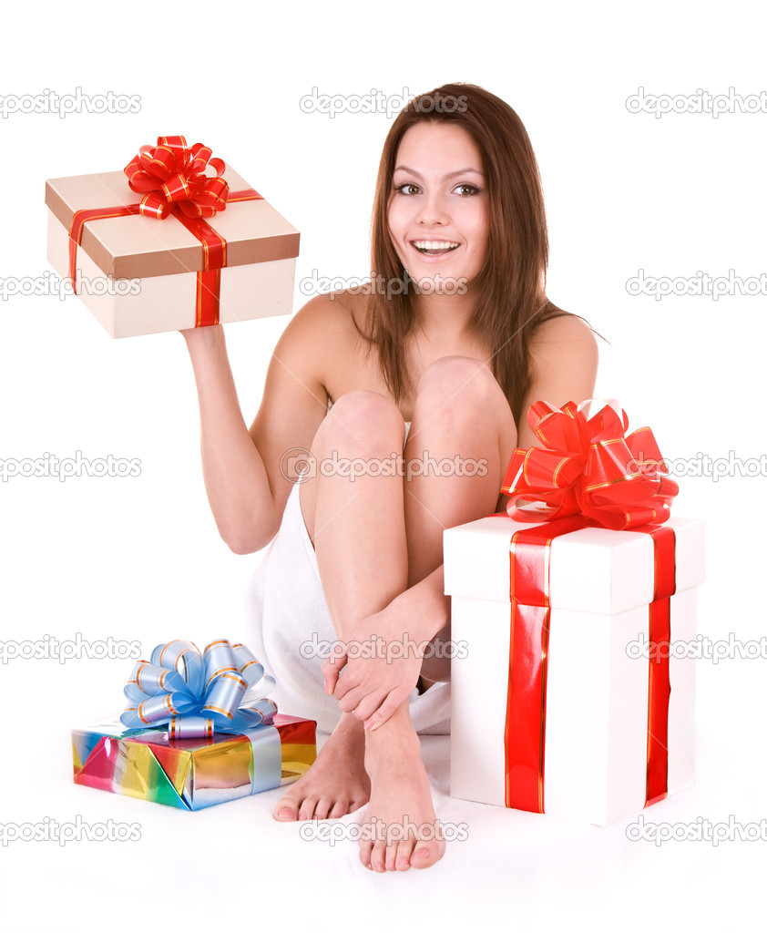Young woman with gift box in spa.