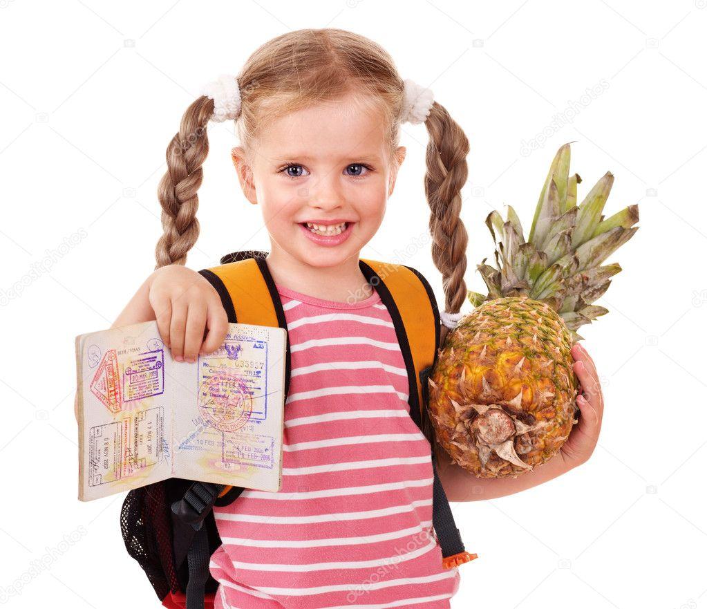 Child holding international passport.