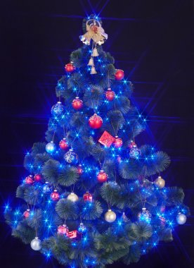 Christmas tree with light and blue star.