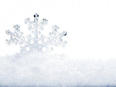 Snowflake in white snow. Isolated. stock vector