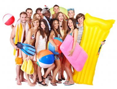 Group holding beach accessories.
