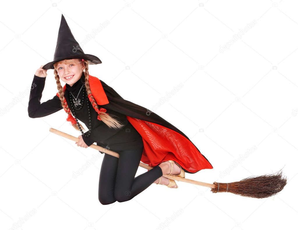 Child in costume Halloween witch fly on broom. — Stock Photo ...