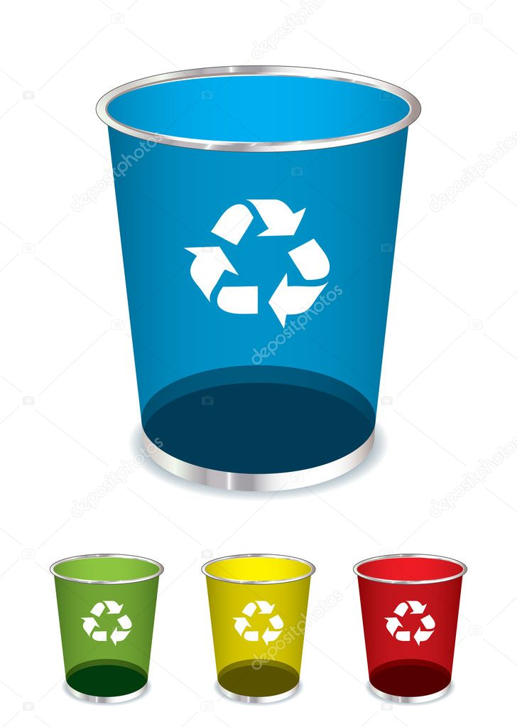 Bright glass recycle trash can icons or symbols   Vector by Nicemonkey. Trash recycle bin   Stock Vector   Nicemonkey  6047794