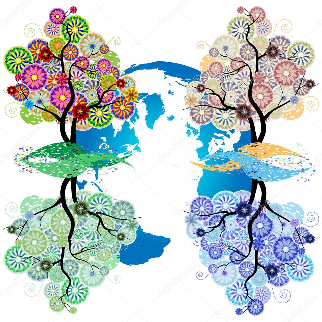 Ornamental tree of circles, flowers and Earth
