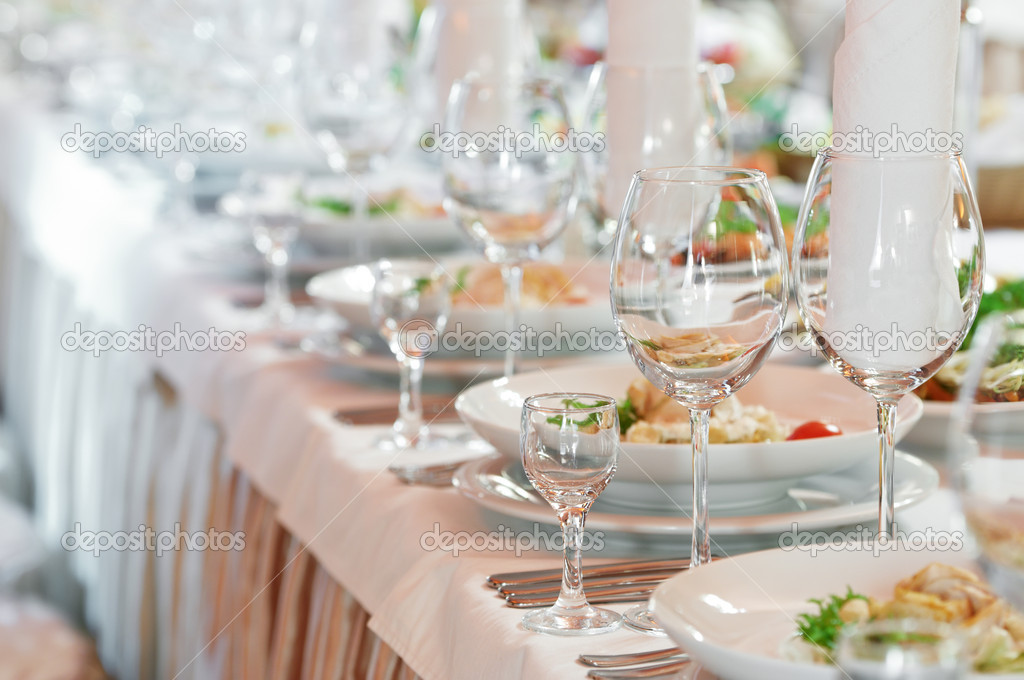 Catering table set service with silverware napkin and glass at restaurant before party u2014 Photo by kalinovsky & Close-up catering table set u2014 Stock Photo © kalinovsky #5428004