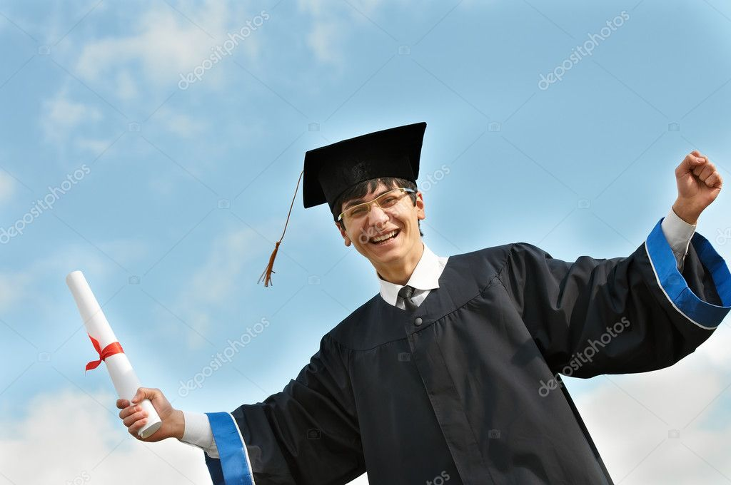 Happy graduate student in gown — Stock Photo © kalinovsky #5743526