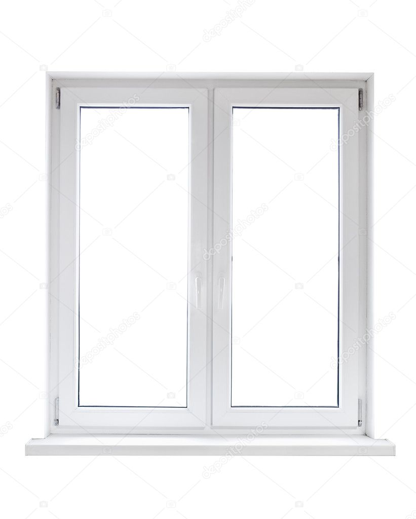 weiße Kunststoff-Doppel-Tür Fenster — Stockfoto © antiksu #6490118