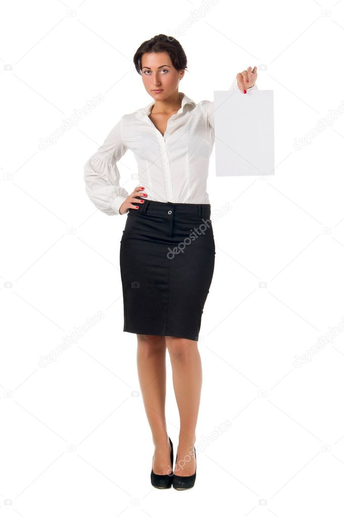 f162edb5e68 Dark haired white blouse and black skirt dressed young business woman show  blank paper page isolated on white background — Photo by chaosmaker