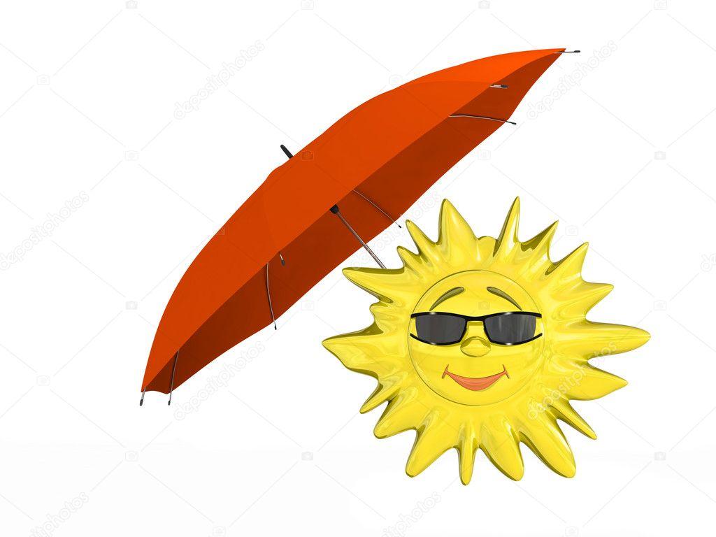 Dessin Parasol dessin animé de soleil avec parasol — photographie anyunoff © #5446275