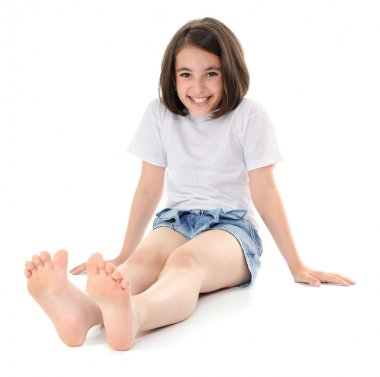 Girl sitting on a floor