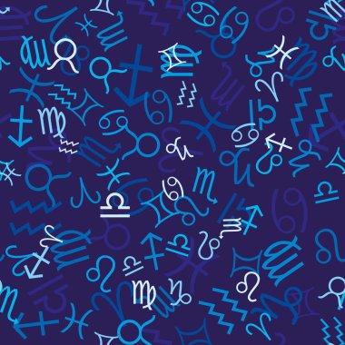 Blue glass blots as zodiac icons
