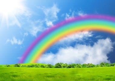 Rainbow in the blue sky