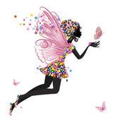 Fotografie Blumen-Fee mit Schmetterling