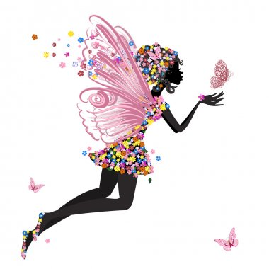 Flower Fairy with butterfly stock vector