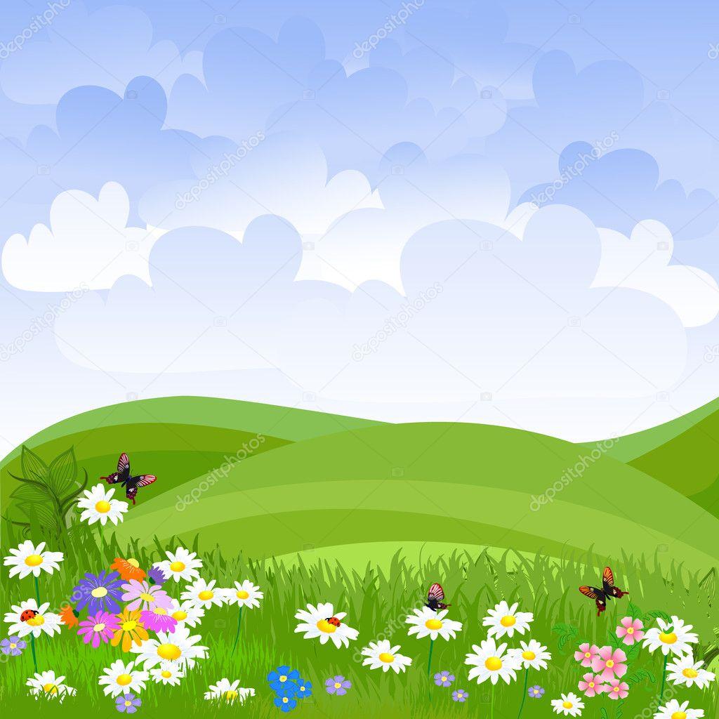 Фотообои Landscape lawn flowers