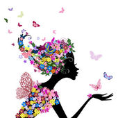 Fényképek lány a virágok és a pillangók